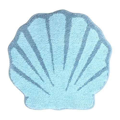 UNIBATH Seashell Bathroom Rugs and Mat Cute Beach Bath Mat for Kids Cartoon Sea Bathroom Decor Aqua Blue Bath Rugs Plush Non-Slip Foot Mat Absorbent Bathtub Rug Washable