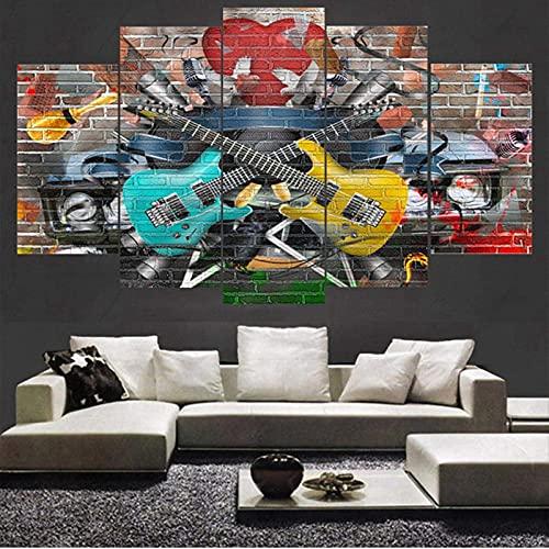 Living Equipment 5 paneles Arte de la pared Arte Doodle Instrumento musical Guitarra Pintura La imagen Impresión en lienzo Imágenes para decoración del hogar Decoración Regalo Obra de arte Pie