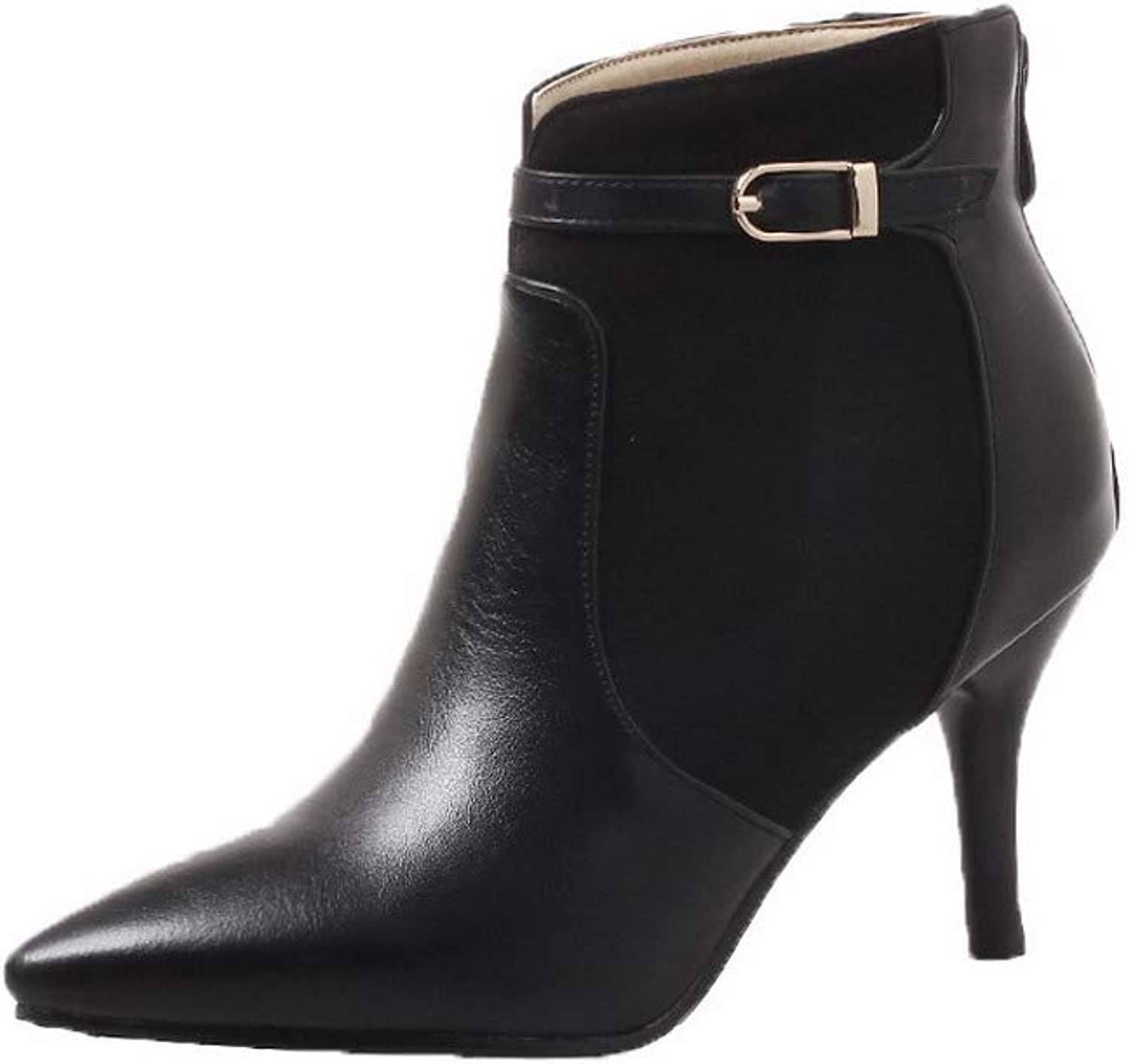 AllhqFashion Women's Pointed-Toe Blend Materials Ankle-High Solid Boots, FBUXD126600