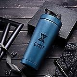 PLC020 700ml Edelstahl Protein Shaker Sport Fitness Shaker Eiweiß | Protein Eeiweiß Shaker Becher mit Kugel...