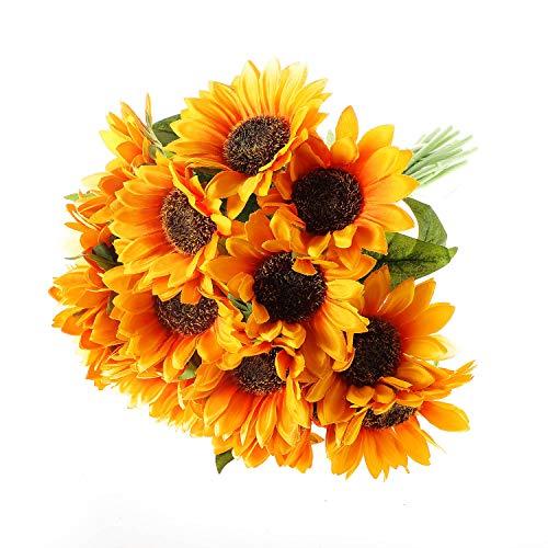 T4U Künstliche Sonnenblumen Kunstblumen Strauß 15er-Set für Wohnung Hochzeit Hotel Restaurant Deko