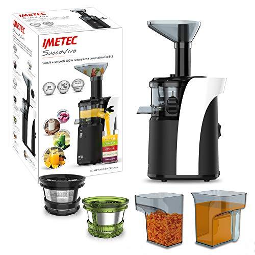 Imetec Succovivo SJ4 1200 Licuadora para frutas y verduras de prensado en frío, baja velocidad 50 RPM, tecnología Easy Juice, filtro zumos, accesorio sorbete, bocadilla grande, limpieza 2 minutos