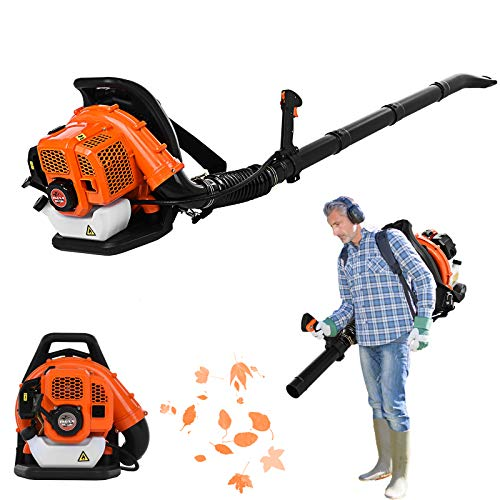 Gas Backpack Blower 63CC 2.3HP Cycle Engine for Lawn Garden Blowing Leaves, Snow, Debris and Dust (A 63CC 2.3HP)