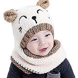 Luoistu Conjunto de Bufanda de Gorro de Punto para bebés pequeños Gorro de...