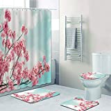SHUOFUSH Cortinas de Ducha románticas con Flores de Cerezo, Juego de Cortinas de baño, Cortinas de baño con Flores Florales Blancas y Rosas, Alfombra de baño, Alfombra para bañera