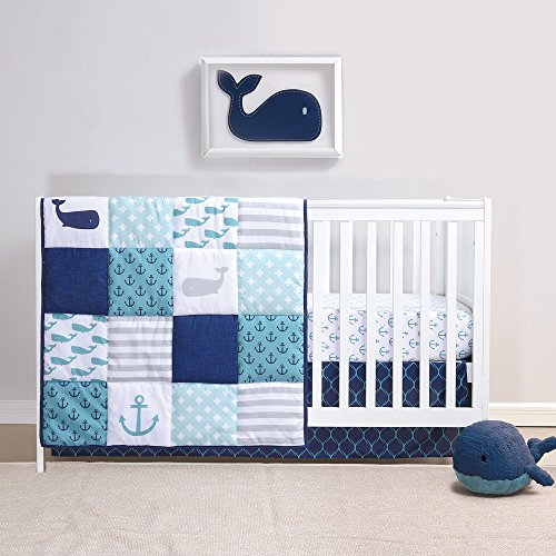 Nautical 4 Piece Whales Baby Crib Bedding Set