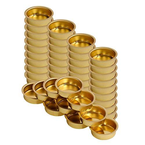 Teelichthalter Messing 40mm tief - Teelicht Tülle für Standard Teelichtkerzen, Größe:50er Set