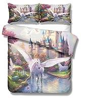 KOKIN ジッパー付きの3個の女の子の羽毛布団カバー、3Dフラワーとスターパターンの寝具セット、軽量マイクロファイバー掛け布団カバー、1枚の羽毛布団カバーと2枚の枕カバー / B/King 260x220cm