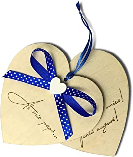 Biglietto auguri Compleanno, Festa del Papà, cuore in legno personalizzato a mano con dedica