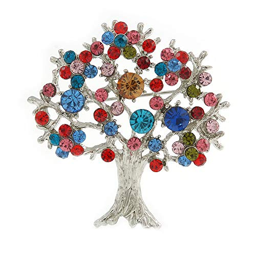 Avalaya Multicoloured 'Tree of Life' Brooch in Silver Tone Metal - 52mm Tall