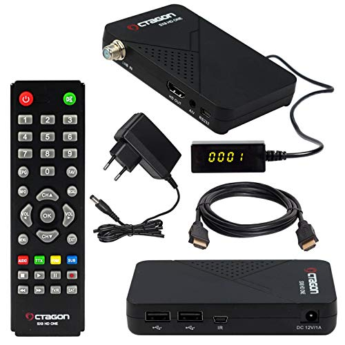 HB-DIGITAL Mini SAT-Receiver Octagon SX8 HD ONE + HDMI Kabel (DVB-S/S2 Satelliten-Receiver IPTV 2X USB 2.0, Conax Kartenleser, HDMI, Externer Display und IR Empfänger, 1080p Mediaplayer Full HD 12V)