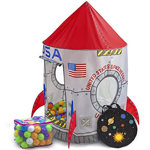Imagination Generation Space Adventure Roarin' Rocket Play Tent | Includes 100 Soft Ball Pit Balls and Carrying Bag for Travel | Rocket Ship Tent Requires Only Minimal Assembly