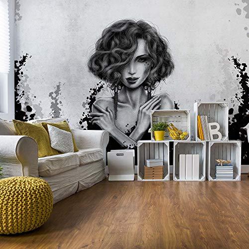Frau Schwarz Und Weiß Vlies Fototapete Fotomural - Wandbild - Tapete - 520cm x 318cm / 5 Teilig - Gedrückt auf 130gsm Vlies - 20841VEXXXXXL - Menschen
