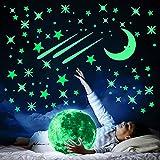 Pegatinas de estrellas y luna que brillan en la oscuridad, 490 piezas de pegatinas de estrellas de luna de planeta de puntos luminosos para calcomanías de pared y techo, pegatinas de pared 3D