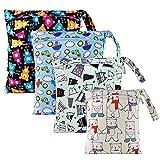 BelleStyle Bolsa de Pañales, 4 PCS Bebé Reutilizable Impermeabilizan Bolsa con 2 Cremallera Impermeable para Mamá de Bebé, Wetbag Organizador de Pañales de Playa,Viajes,Piscina,Gym