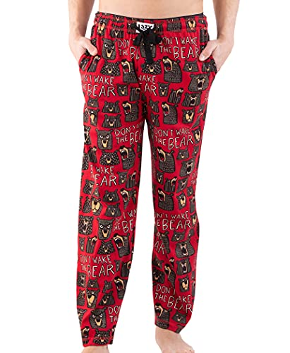 Lazy One Animal Pajama Pants for Men, Men's Separate Bottoms, Lounge Pants, Funny, Humorous (Don't Wake The Bear, Large)