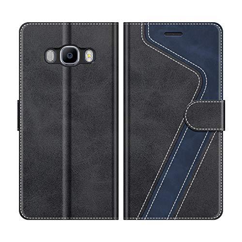 MOBESV Handyhülle für Samsung Galaxy J5 2016 Hülle Leder, Samsung Galaxy J5 2016 Klapphülle Handytasche Case für Samsung Galaxy J5 2016 Handy Hüllen, Modisch Schwarz