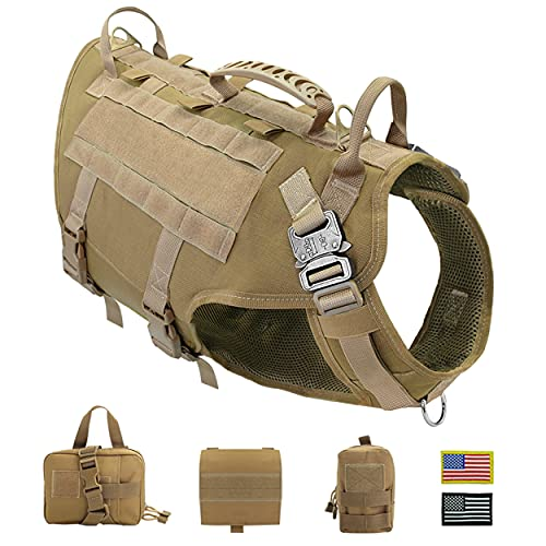 PET ARTIST Tactical Dog Harness for Hiking Training, No Pull Vest Harness for Medium Large Dogs, with Pouches and Patches,M