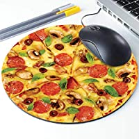 Pizza Mouse Pad, Pepperoni Cheesy Pizza Pattern Round Ergonomic Mouse Pad Non-Slip Rubber Material for Office Desk Gaming Home Space Decor - 220mm Diameter [並行輸入品]