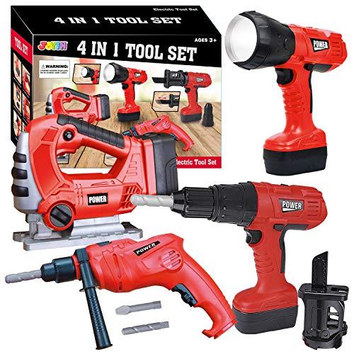 JOYIN 4-in-1 kit di attrezzi giocattolo da lavoro per bambini Strumento STEM elettrico da lavoro per gioco tra cui torcia elettrica sega e trapano elettrico