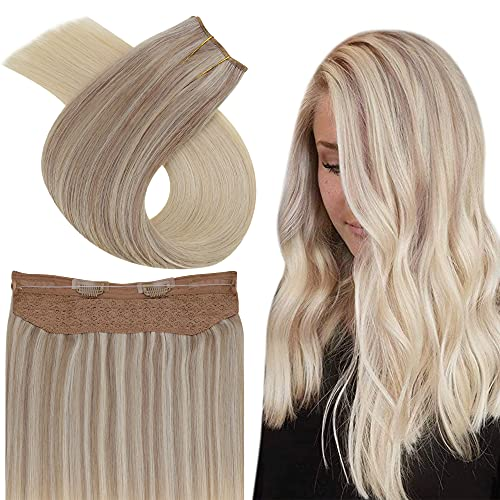 Easyouth Wire Hair Extensions Human Hair Blonde Fish Wire Hair Extensions 16inch Hidden Crown Hair Extensions Color Ash...
