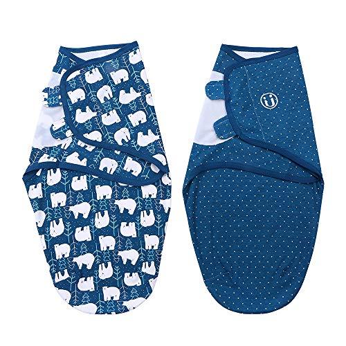 Btuty Swaddle Envoltório do bebê Cobertor 2 Pacote de Algodão Macio Dos Desenhos Animados Padrão Ajustável Infantil Cobertores de Dormir (Médio 3-4 Mês)