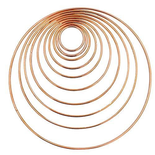 BETOY 10 Stück Metallringe Drahtring Metall Ringe Hoops für Traumfänger 35/45/50/65/80/100/120/140/160/190 mm Traumfänger Selber Basteln Bastelset Mobile Basteln Mobile Ring Gold