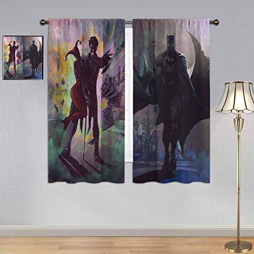 ARYAGO Black Out Cortinas de la Liga de la Justicia, Harleen Quinzel Joker & Bat-man cortina de ventana de tela para dormitorio/sala de estar 2014 x 2014 cm