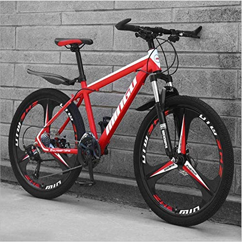 HCMNME Durable Bicycle, 26 inch Mountain Bike Variable Speed Off-Road Shock-Absorbing Bicycle Light Road Racing Three-Wheel Alloy Frame with Disc Brakes (Color : Red, Size : 24 Speed)