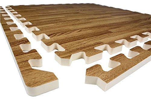 tatami parquet materassina incastro pavimentazione anti trauma yoga pilates fitness sala giochi (x 4 pcs, Legno)
