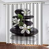 Evvsovs® Cortinas Opacas De Térmica Aislante 3D - Flor De Vela Zen Yoga SPA Adecuado para Balcon, Salón, Habitación, Dormitorio Modernos Cortinas Accesorios 220 (Ancho) X215 (Alto) Cm