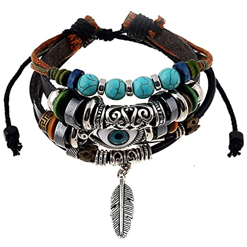Branets Pulsera de piel con colgante de plumas de estilo bohemio, con cuentas de turquesa, para hombres y mujeres