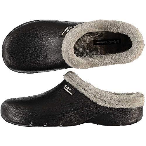 Trachten-Dirndl-More - Zuecos y pantoletas para hombre con guantes de jardín a juego, color negro, color Negro, talla 44 EU