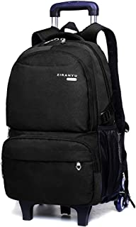 BOZEVON Kids Backpack with Wheels - Boy's Waterproof Durable Removable Trolley Backpack, Black