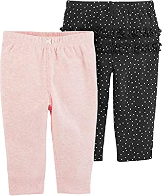 Carter's Baby Girls 2-pk. Ruffle Dots Pull-On Pants 3 Month Pink/Black/White