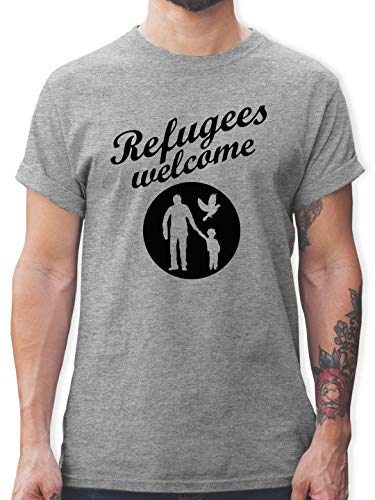 Statement - Refugees Welcome - S - Grau meliert - Refugees Welcome Shirt - L190 - Tshirt Herren und Männer T-Shirts