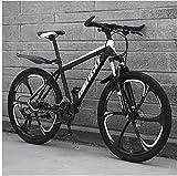 Kunze 26 Inch Men's Mountain Bikes, High-Carbon Steel Hardtail Mountain Bike, Mountain Bicycle with Front Suspension Adjustable Seat (Color : 30 Speed, Size : Black 6 Spoke)