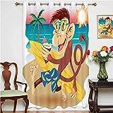Cortinas opacas anchas con diseño de mono hipster con tabla de surf y gafas para beber en la playa en día soleado, cortinas estampadas, panel individual de 132 x 160 cm, para dormitorio multi