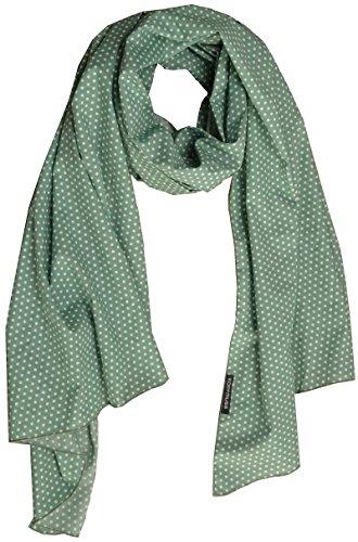 Kopfmuss - Damen Schal Baumwolle Polkapunkte Farbgrün/Weiß