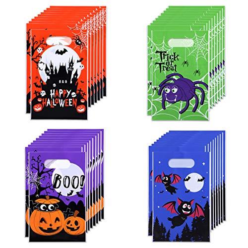 TOYANDONA 120 Packs Halloween Goody Bags Bulk, Halloween Candy Bags, Halloween Treat Bags, Halloween Trick or Treat Bags, Halloween Party Favors Bags, 4 Patterns