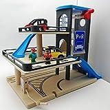 Aiya Parking Garage, Piste en Bois 3 étage Jouet Garage en Bois Parking Parc de Voiture Jouet pour...