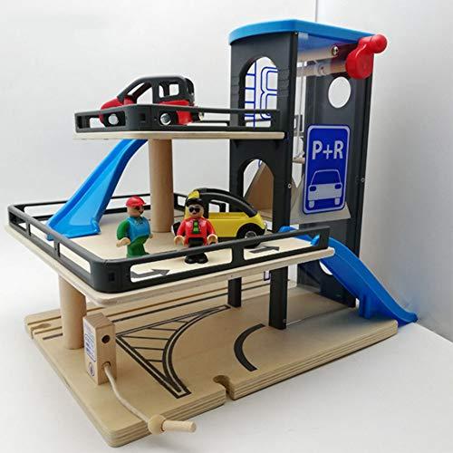 Garaje de estacionamiento, pista de madera 3 pisos de juguete garaje de madera estacionamiento tren coche juguete para 3-6-10 años de edad taller automotriz garaje de madera de estacionamiento Playset