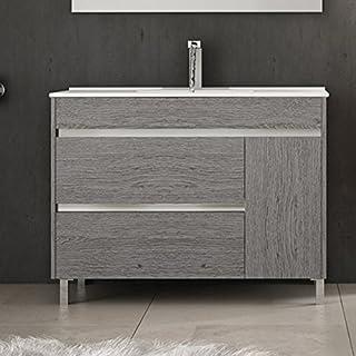 Ducha.es Conjunto 2 Piezas HÉMERA-Mueble de baño y encimera cerámica (100cm, Roble Ceniza)