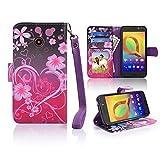 for ZTE N818S Case Wallet Phone Case Grip Textured Kickstand Hybrid Pouch Pocket Purse Screen Flip Cover (Big Heart Pink)