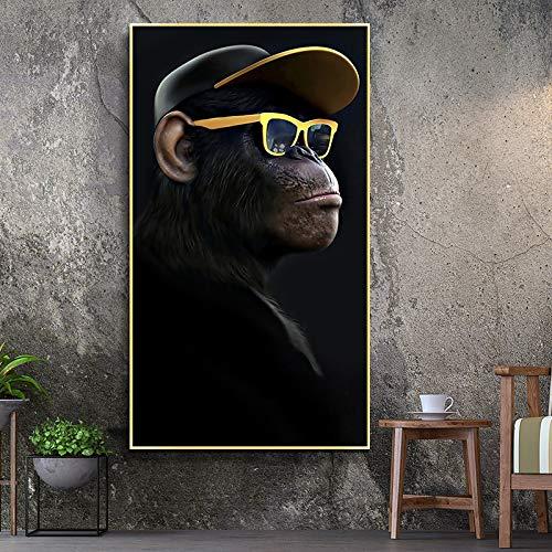 KWzEQ Denkender AFFE mit Kopfhörerbrille Poster und Tierdrucke Wohnzimmer Wandbild Leinwand Dekoration...