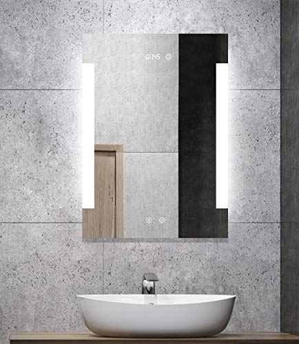 ALLDREI badkamerspiegel met zijdelings boven verlicht. 50X70CM Seitlich Mit Antibeschlag