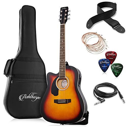 Ashthorpe Full-Size Left-Handed Cutaway Thinline Acoustic-Electric Guitar Package - Premium Tonewoods - Sunburst