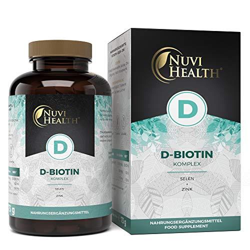 Biotin - Extra hochdosiert: 10.000 mcg bioaktives D-Biotin + Selen + Zink - 365 Tabletten für 1 Jahr - Beste Bioverfügbarkeit - Laborgeprüft - Vegan