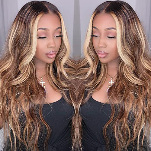Nadula Honey Blonde 13×4 Lace Frontal Highlight Body Wave Human Hair Wigs For Black Women, Ombre Highlight Piano Colored Lace Frontal Wig Pre Plucked with Baby Hair 150% Density TL412 Color (16inch)