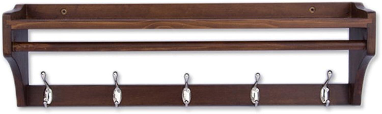 Coat Rack, Wall Hanging Wood Hanger Wall Hook Rack Multi-Function Bedroom Simple Door Coat Rack 51.5  20  15cm Easy to Install (Size   65.5  20  15cm)